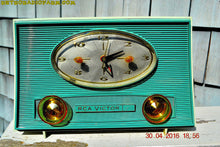 Load image into Gallery viewer, SOLD! - July 11, 2016 - TURQUOISE-ISH and Ivory-ish Retro Jetsons Vintage 1959 RCA Victor Model 1-RD-45 AM Tube Clock Radio Totally Restored! - [product_type} - RCA Victor - Retro Radio Farm