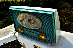 SOLD! - July 11, 2016 - TURQUOISE-ISH and Ivory-ish Retro Jetsons Vintage 1959 RCA Victor Model 1-RD-45 AM Tube Clock Radio Totally Restored! - [product_type} - RCA Victor - Retro Radio Farm