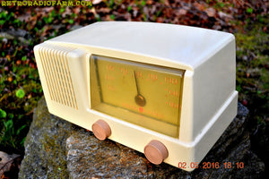 BLUETOOTH MP3 READY - Antique Ivory Mid Century Retro Vintage 1950 General Electric Model 414 AM Tube Radio Totally Restored! , Vintage Radio - General Electric, Retro Radio Farm  - 3