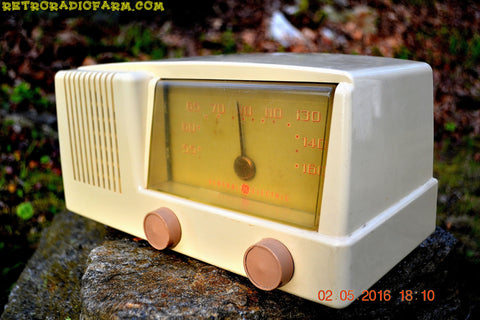 SOLD! - Nov 29, 2016 - BLUETOOTH MP3 READY - Antique Ivory Mid Century Retro Vintage 1950 General Electric Model 414 AM Tube Radio Totally Restored!