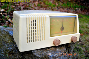 BLUETOOTH MP3 READY - Antique Ivory Mid Century Retro Vintage 1950 General Electric Model 414 AM Tube Radio Totally Restored! , Vintage Radio - General Electric, Retro Radio Farm  - 5
