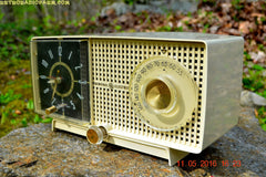 SOLD! - May 25, 2016 - BLUETOOTH MP3 READY - Ivory Beige Mid Century Jetsons 1959 General Electric Model C-435A Tube AM Clock Radio Totally Restored! , Vintage Radio - General Electric, Retro Radio Farm  - 4