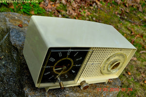 SOLD! - May 25, 2016 - BLUETOOTH MP3 READY - Ivory Beige Mid Century Jetsons 1959 General Electric Model C-435A Tube AM Clock Radio Totally Restored! - [product_type} - General Electric - Retro Radio Farm