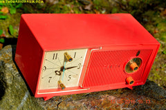 SOLD! - May 30, 2016 - BLUETOOTH MP3 Ready - Salmon Pink Mid Century Jetsons 1959 Zenith Model E514A Tube AM Clock Radio Works Great! , Vintage Radio - Zenith, Retro Radio Farm  - 7