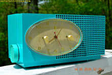 Load image into Gallery viewer, SOLD! - May 24, 2016 - BLUETOOTH MP3 READY - Turquoise Mid Century Retro Jetsons 1956 Sylvania Model 6006 Tube AM Clock Radio Totally Restored! , Vintage Radio - Sylvania, Retro Radio Farm  - 2