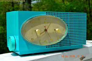 SOLD! - May 24, 2016 - BLUETOOTH MP3 READY - Turquoise Mid Century Retro Jetsons 1956 Sylvania Model 6006 Tube AM Clock Radio Totally Restored! , Vintage Radio - Sylvania, Retro Radio Farm  - 2