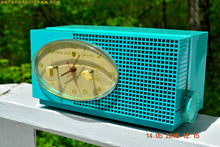 Load image into Gallery viewer, SOLD! - May 24, 2016 - BLUETOOTH MP3 READY - Turquoise Mid Century Retro Jetsons 1956 Sylvania Model 6006 Tube AM Clock Radio Totally Restored! , Vintage Radio - Sylvania, Retro Radio Farm  - 1