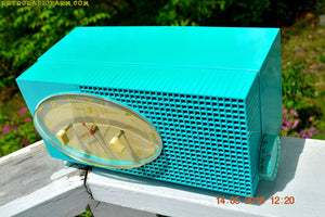SOLD! - May 24, 2016 - BLUETOOTH MP3 READY - Turquoise Mid Century Retro Jetsons 1956 Sylvania Model 6006 Tube AM Clock Radio Totally Restored! , Vintage Radio - Sylvania, Retro Radio Farm  - 6