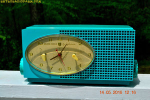 SOLD! - May 24, 2016 - BLUETOOTH MP3 READY - Turquoise Mid Century Retro Jetsons 1956 Sylvania Model 6006 Tube AM Clock Radio Totally Restored! , Vintage Radio - Sylvania, Retro Radio Farm  - 3