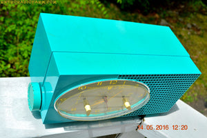 SOLD! - May 24, 2016 - BLUETOOTH MP3 READY - Turquoise Mid Century Retro Jetsons 1956 Sylvania Model 6006 Tube AM Clock Radio Totally Restored! , Vintage Radio - Sylvania, Retro Radio Farm  - 7