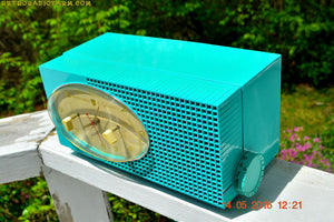 SOLD! - May 24, 2016 - BLUETOOTH MP3 READY - Turquoise Mid Century Retro Jetsons 1956 Sylvania Model 6006 Tube AM Clock Radio Totally Restored! , Vintage Radio - Sylvania, Retro Radio Farm  - 8