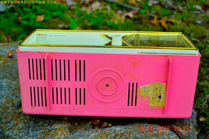 SOLD! - Aug 30, 2016 - BUBBLE Gum Pink and White Emerson Model 883 Series B Tube AM Clock Radio Mid Century Rare Color Sounds Great! - [product_type} - Emerson - Retro Radio Farm