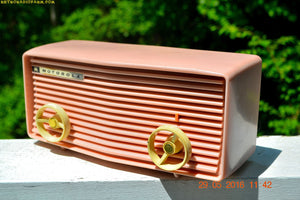 BLUETOOTH MP3 READY - Princess Pink Retro Jetsons 1959 Motorola Model 57R Tube AM Clock Radio Totally Restored! , Vintage Radio - Motorola, Retro Radio Farm  - 2