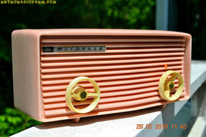 SOLD! - Sept 12, 2016 - BLUETOOTH MP3 READY - Princess Pink Retro Jetsons 1959 Motorola Model 57R Tube AM Clock Radio Totally Restored! - [product_type} - Motorola - Retro Radio Farm