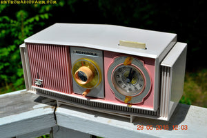 SOLD! - May 30, 2016 - BLUETOOTH MP3 READY - Cotton Candy Pink Retro Jetsons 1963 Motorola Model C19P23 Tube AM Clock Radio Totally Restored! , Vintage Radio - Motorola, Retro Radio Farm  - 4