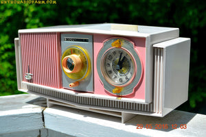 SOLD! - May 30, 2016 - BLUETOOTH MP3 READY - Cotton Candy Pink Retro Jetsons 1963 Motorola Model C19P23 Tube AM Clock Radio Totally Restored! , Vintage Radio - Motorola, Retro Radio Farm  - 2