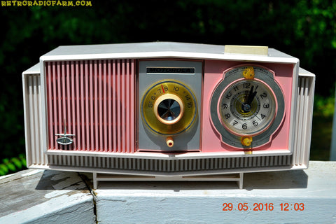 SOLD! - May 30, 2016 - BLUETOOTH MP3 READY - Cotton Candy Pink Retro Jetsons 1963 Motorola Model C19P23 Tube AM Clock Radio Totally Restored!
