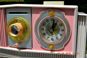 SOLD! - May 30, 2016 - BLUETOOTH MP3 READY - Cotton Candy Pink Retro Jetsons 1963 Motorola Model C19P23 Tube AM Clock Radio Totally Restored! - [product_type} - Motorola - Retro Radio Farm