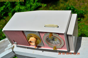 SOLD! - May 30, 2016 - BLUETOOTH MP3 READY - Cotton Candy Pink Retro Jetsons 1963 Motorola Model C19P23 Tube AM Clock Radio Totally Restored! , Vintage Radio - Motorola, Retro Radio Farm  - 8