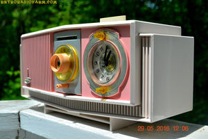 SOLD! - May 30, 2016 - BLUETOOTH MP3 READY - Cotton Candy Pink Retro Jetsons 1963 Motorola Model C19P23 Tube AM Clock Radio Totally Restored! , Vintage Radio - Motorola, Retro Radio Farm  - 6