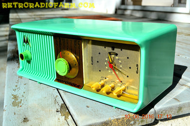 SOLD! - Nov 29, 2017 - SEA GREEN Never-Before-Seen-Never-Knew-Existed Retro Jetsons 1957 Motorola 57CC Tube AM Clock Radio Totally Restored! - [product_type} - Motorola - Retro Radio Farm