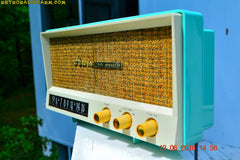 SOLD! - Aug 15, 2016 - BLUETOOTH MP3 READY - AQUAMARINE BLUE Retro Jetsons Vintage 1959 Arvin 2585 AM Tube Radio WORKS!
