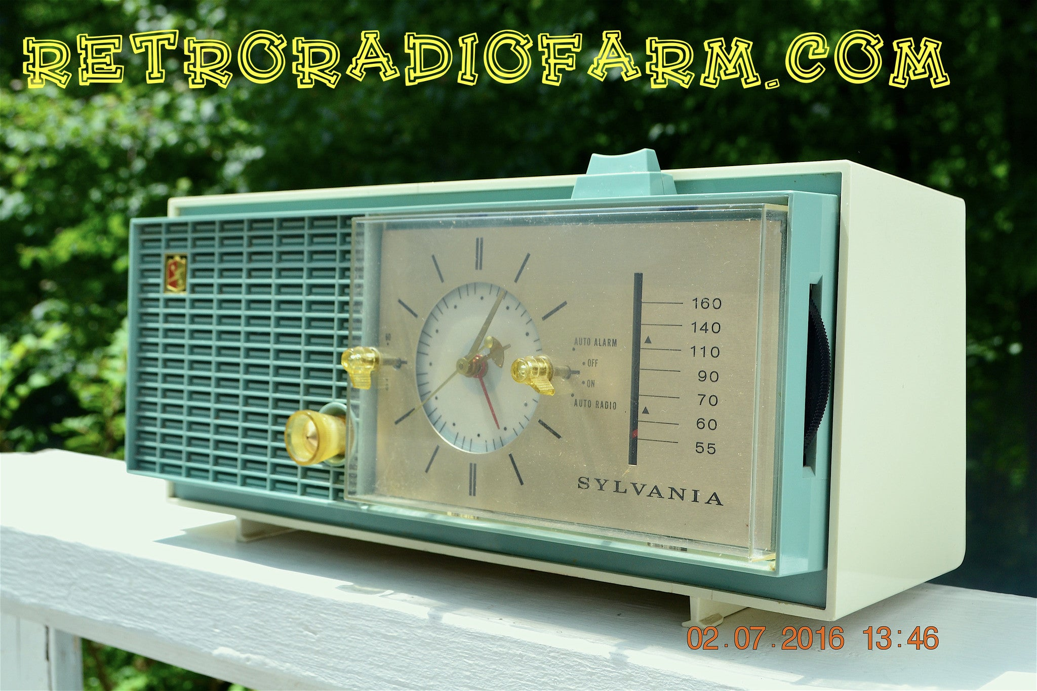 SOLD! - Nov 14, 2016 - SLATE BLUE Mid Century Retro Jetsons 1964 Sylvania Model AK22 Tube AM Clock Radio Totally Restored! - [product_type} - Sylvania - Retro Radio Farm