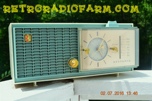 SOLD! - Nov 14, 2016 - SLATE BLUE Mid Century Retro Jetsons 1964 Sylvania Model AK22 Tube AM Clock Radio Totally Restored!