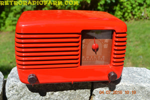 SOLD! - July 4, 2016 - BLUETOOTH MP3 Ready - LIPSTICK RED Vintage Deco Retro 1948 Philco Transitone 48-200 AM Bakelite Tube Radio Works!