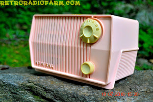SOLD! - Aug 1, 2016 - BLUETOOTH MP3 Ready - Pink Marshmallow Retro Mid Century Vintage 1959 Admiral Model 4L2A AM Tube Radio Totally Restored! - [product_type} - Admiral - Retro Radio Farm