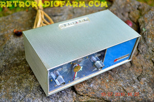 SOLD! - August 22, 2016 - STAINLESS STEEL Retro Vintage Mini Travel 1966 Bulova Series 130 Transistor Clock Radio Looks So Cool! - [product_type} - Bulova - Retro Radio Farm