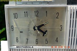 SOLD! - Apr 15, 2017 - BLUETOOTH MP3 READY - Paper White Retro Jetsons 1961 Motorola Model C12P46 Tube AM Clock Radio Totally Restored! - [product_type} - Motorola - Retro Radio Farm
