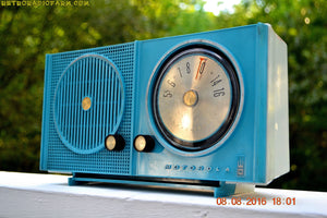 SOLD! - Sept 1, 2016 - BLUETOOTH MP3 READY - Sky Blue Beauty Mid Century Retro 1962 Motorola Model A23B Tube AM Radio Totally Restored! - [product_type} - Motorola - Retro Radio Farm