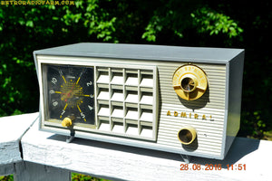 SOLD! - Nov 5, 2016 - BLUETOOTH MP3 Ready - RARE Thunderstorm Grey And White Admiral Model 5G49N AM Tube Radio Retro Mid Century Vintage Near Mint!