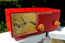 Load image into Gallery viewer, SOLD! - Oct 25, 2016 - CARDINAL Red Retro Jetsons 1957 Motorola Model 56CS34 Tube AM Clock Radio Totally Restored!