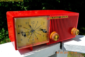 SOLD! - Oct 25, 2016 - CARDINAL Red Retro Jetsons 1957 Motorola Model 56CS34 Tube AM Clock Radio Totally Restored!