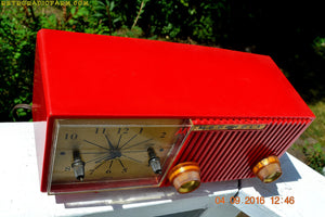 SOLD! - Oct 25, 2016 - CARDINAL Red Retro Jetsons 1957 Motorola Model 56CS34 Tube AM Clock Radio Totally Restored! - [product_type} - Motorola - Retro Radio Farm