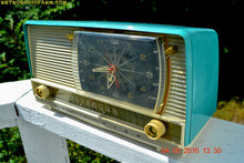 Load image into Gallery viewer, SOLD! - Oct 22, 2016 - BEAUTIFUL Turquoise And White Retro Jetsons 1958 RCA Victor 9-C-71 Tube AM Clock Radio Works Great But Has Cracks!