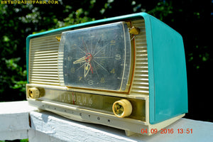 SOLD! - Oct 22, 2016 - BEAUTIFUL Turquoise And White Retro Jetsons 1958 RCA Victor 9-C-71 Tube AM Clock Radio Works Great But Has Cracks! - [product_type} - RCA Victor - Retro Radio Farm
