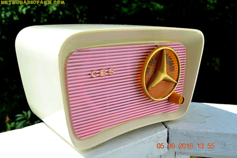 SOLD! - Oct 15, 2016 - SO JETSONS LOOKING Retro Vintage Pink and Black 1959 CBS Model 2160 AM Tube Radio So Cute!
