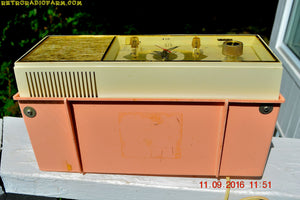 SOLD! - Oct 3, 2016 - LUSCIOUS PINK Mid Century Retro 1961 Arvin Model 53R27 AM Tube Clock Radio Works Great Looks Great! - [product_type} - Arvin - Retro Radio Farm