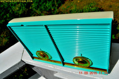 SOLD! - Dec 10. 2017 - TURQUOISE Twin Speaker Retro Vintage 1959 Philco Model J-845-124 AM Tube Radio Totally Restored!