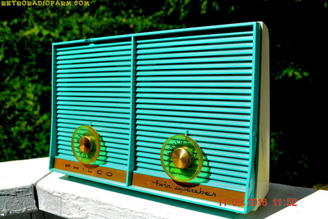 TURQUOISE Twin Speaker Retro Vintage 1959 Philco Model J-845-124 AM Tube Radio Totally Restored!
