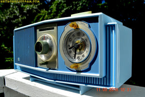 SOLD! - Sept 17, 2016 - BLUE on Blue Mid Century Retro 1963 Motorola Model C19B60 Tube AM Clock Radio Totally Restored! - [product_type} - Motorola - Retro Radio Farm