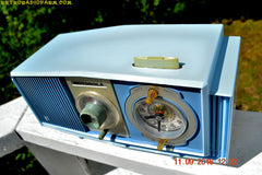 SOLD! - Sept 17, 2016 - BLUE on Blue Mid Century Retro 1963 Motorola Model C19B60 Tube AM Clock Radio Totally Restored!