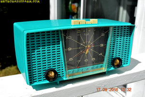 SOLD! - Sept 21, 2016 - PURE TURQUOISE Mid Century Retro Jetsons Vintage 1956 Firestone Model 4A-191 AM Tube Clock Radio True Survivor!