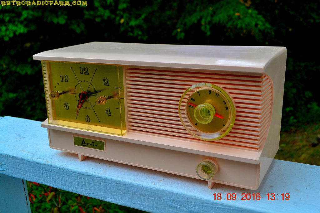 SOLD! - Sept 26, 2016 - POWDER PINK Vintage Antique Mid Century 1961 Arvin Model 51R23 Tube AM Clock Radio Restored and Rare!