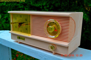 SOLD! - Sept 26, 2016 - POWDER PINK Vintage Antique Mid Century 1961 Arvin Model 51R23 Tube AM Clock Radio Restored and Rare! - [product_type} - Arvin - Retro Radio Farm