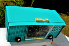 Load image into Gallery viewer, SOLD! - Sept 21, 2016 - PURE TURQUOISE Mid Century Retro Jetsons Vintage 1956 Firestone Model 4A-191 AM Tube Clock Radio True Survivor!