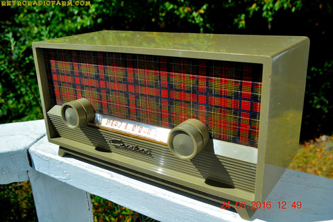SCOTTISH TARTAN Khaki Green Retro Vintage 1954 Capehart Model T-54 AM Tube Radio Totally Restored!